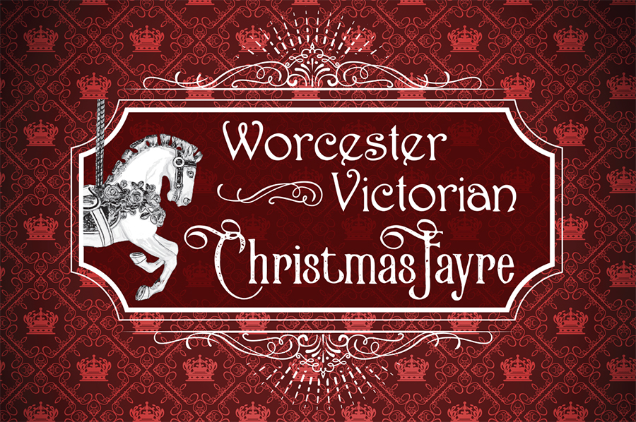 22549 Victorian Christmas Fayre white logo on crown bg A5